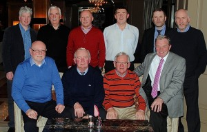 At the annual re-union of ESB Technical Training, Lower Mount St. Training Centre staff, in the Davenport Hotel, Dublin 2 on Friday 30th January 2015. Standing, Left to right: Tommy Shannon, Pat Deasy, John Alexander who retired in December 2015, Michael Murphy, Paul Mullarkey, Liam Bolger. Seated, Left to right: Bill O'Dwyer, Liam Browne, Martin McNamara and Michael Hughes.